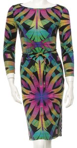 Emilio Pucci Silk Boat Neck Longsleeve Summer Party Belted Print Dress