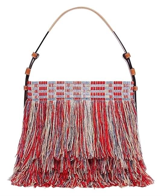 Item - New Frayed Tweed Poppy Red Multi Cotton and Leather Hobo Bag