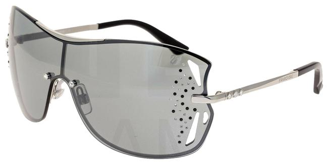 Item - Grey Mirror Crystal Silver Shield Oversized Sk0041 Sunglasses