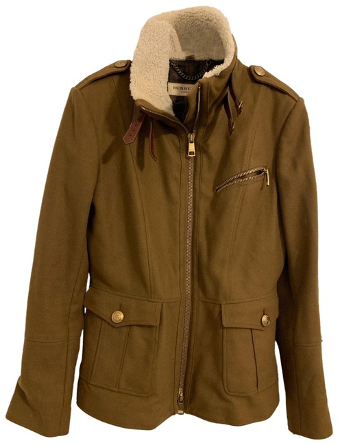 Item - Brown Wool and Cashmere Coat with Shearling Collar Jacket Size 10 (M)