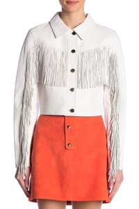 Diane von Furstenberg Fringed white Leather Jacket