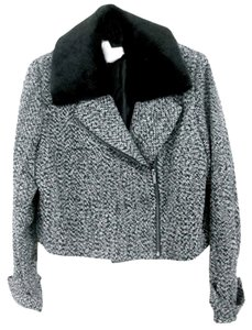 Covington Tweed Detachable Collar Fur Collar Long Sleeve Zipper Front Black/White Tweed Blazer