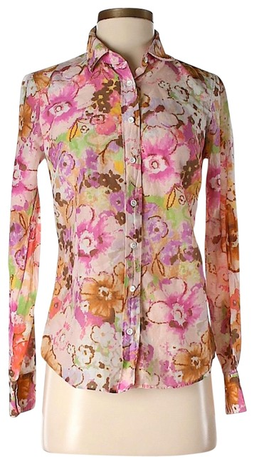 Item - Red Pink Green Yellow Blue White Floral Silk and Cotton Shirt Button-down Top Size 0 (XS)