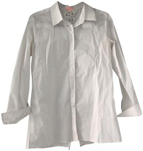 re:named Lace Up Corset Laces Tie Button Down Shirt White