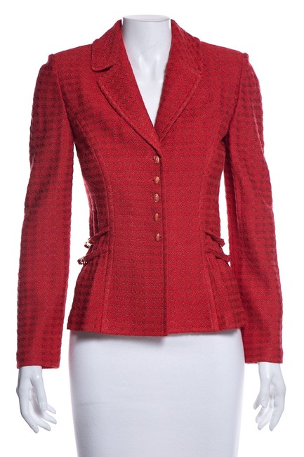 Item - Red Structured Knit Jacket Size 2 (XS)