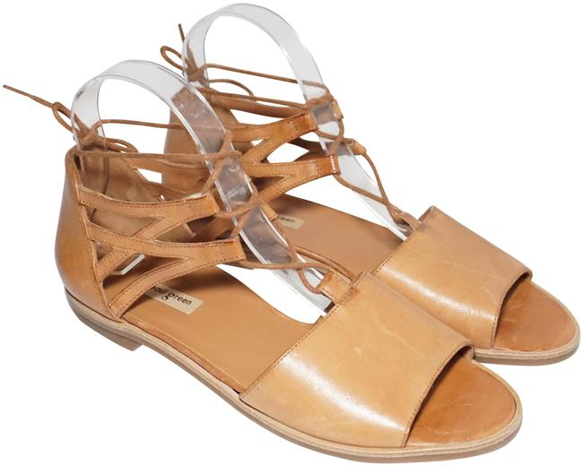 Item - Brown Tan Morea Lace-up Flat Cushioned Cuoio Leather Sandals Size US 7.5 Regular (M, B)