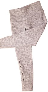 Nancy Rose Performance Yoga 7/8 Side Cut Outs Powerlux Grey and white Leggings