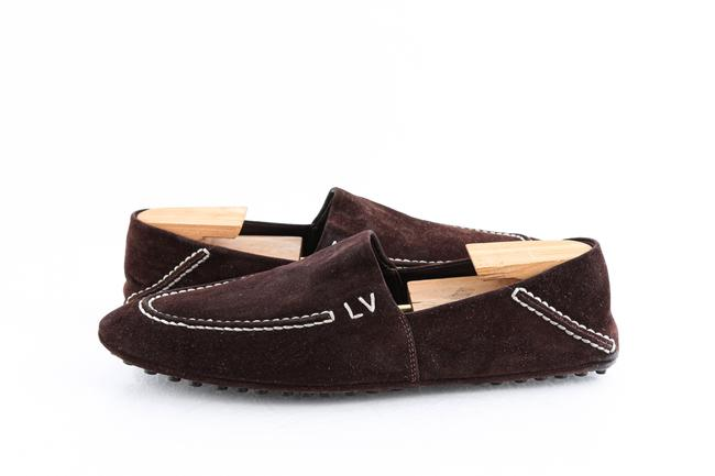 Louis Vuitton Brown Suede Slip On Loafers Shoes Louis Vuitton Brown Suede Slip On Loafers Shoes Image 1