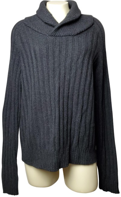 Item - Wool-cashmere Blend Modern Knit-style Collared Gray Sweater