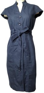Sandra Darren short dress NAVY BLUE Belted Front Button Cap Sleeves Banded on Tradesy