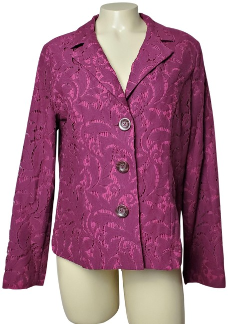 Item - Purple Pink Three-buttoned Floral Laced-upper Blazer Size 8 (M)