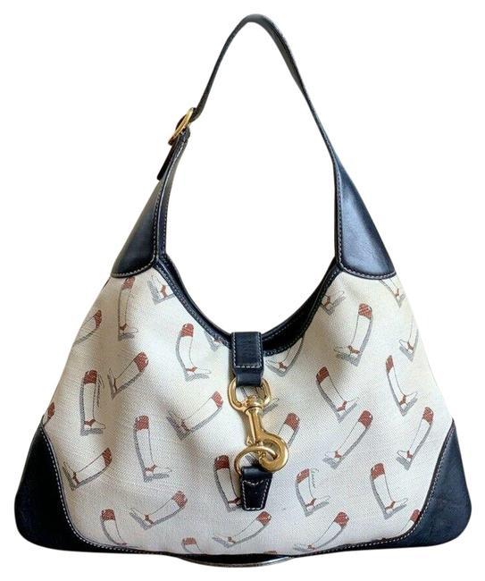 Item - Jackie Boot Print Med Cream Navy Canvas Leather Hobo Bag