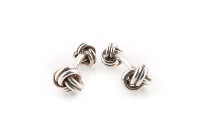 Item - Silver Double Knot Cufflinks/Studs