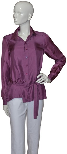 Item - Purple Aeffe Spa Long Sleeve Silk Blouse Button-down Top Size 6 (S)