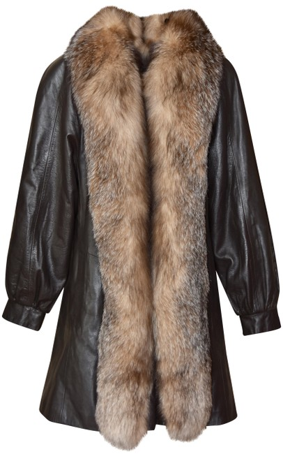 Item - Brown Lambskin Leather Jacket with Fox Trim Coat Size 6 (S)