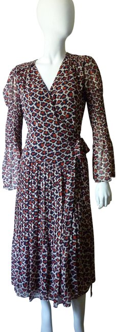 Item - Multicolor Leopard Print Smocked Wrap Long Work/Office Dress Size 8 (M)