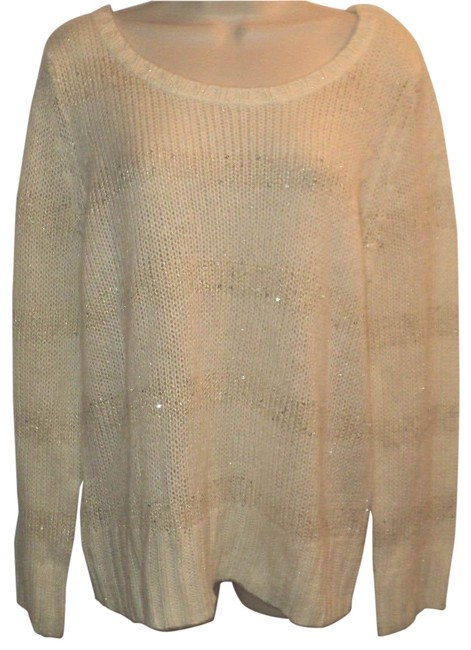Item - With Subtle Sequin Stripes Boat Neck Long Sleeves Ivory & Silver Sweater