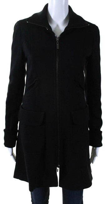 Item - Black Paxton Hooded Zip Up Fitted Coat Size 2 (XS)