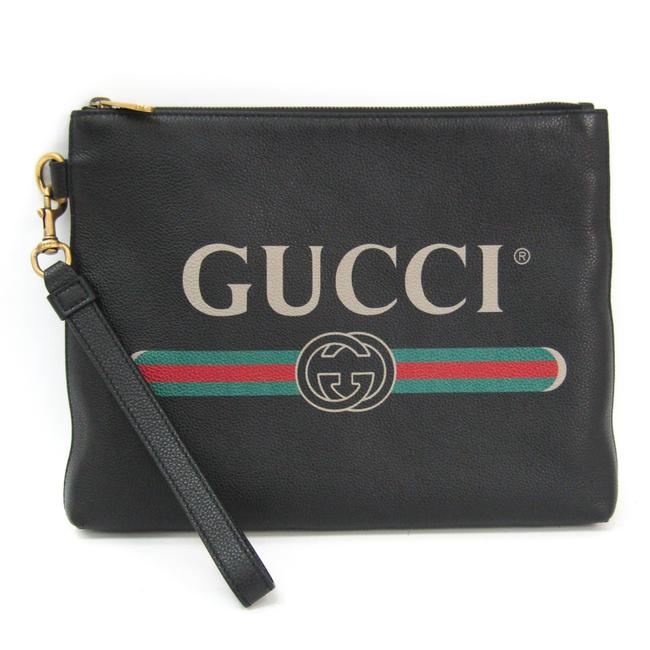 Gucci Logo 572770 Unisex Black / Green / Red Leather Clutch Gucci Logo 572770 Unisex Black / Green / Red Leather Clutch Image 1