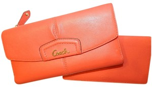 Coach Nice COACH Ashley Coral Leather Large Checkbook Wallet and cover Set