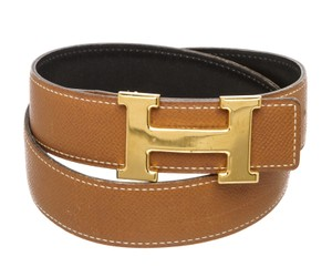 Hermès Hermes Brown and Black Reversible Leather Belt Gold Plated H Buckle 70