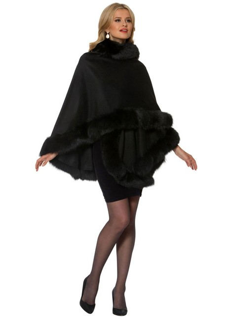 Item - Black Your Lady Fox Fur Trimmed Cashmere Poncho/Cape Size OS (one size)