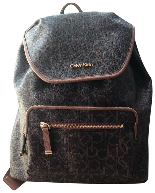 Item - Monogram Faux Brown Leather Backpack