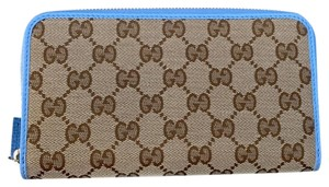 Gucci Gucci Beige GG Logo Canvas Leather Mineral Blue Wallet