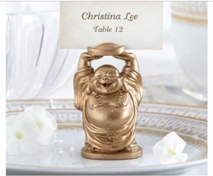 "Kate Aspen Gold ""laughing Buddha"" Place Card Holders Tableware"