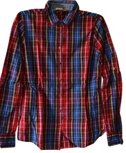 Zara Top red blue check