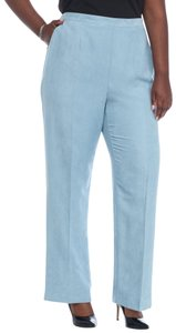 Alfred Dunner Monochrome Stretchy Elastic Suede Straight Pants Blue
