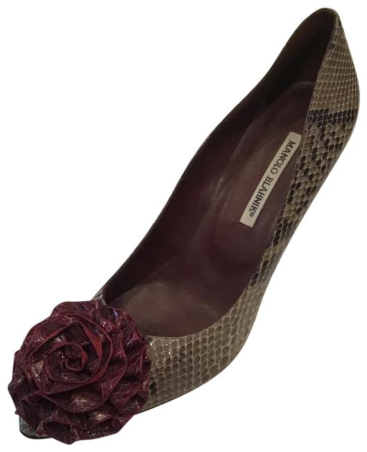 Item - Multi Beige Snake W/ Bordeaux Florets Pumps Size US 11 Regular (M, B)