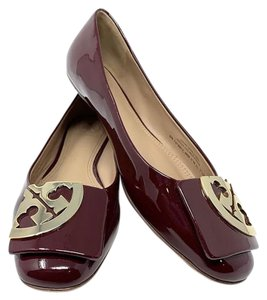 Tory Burch Square Toe Patent Leather Red Size 7.5 Oxblood Flats