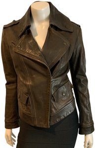 Donna Karan Made In Italy Rare Unique BROWN Leather Jacket