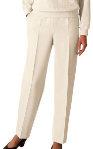 Alfred Dunner Monochrome Elastic Stretchy Straight Pants Ivory