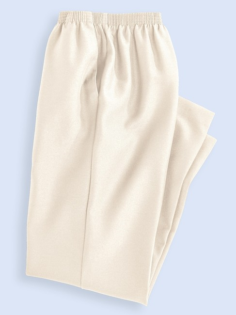 Alfred Dunner Monochrome Elastic Stretchy Straight Pants Ivory Image 1