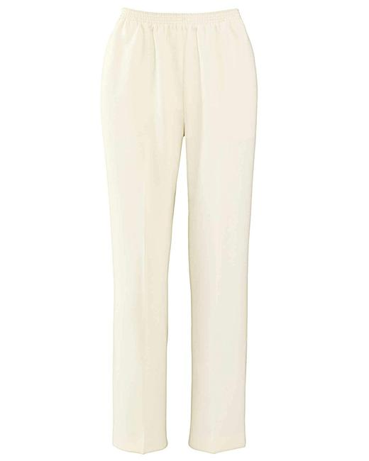 Alfred Dunner Monochrome Elastic Stretchy Straight Pants Ivory Image 2