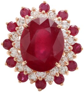 other 11.40CTW Natural Red Ruby & DIAMOND in 14K Solid Rose Gold Women Ring