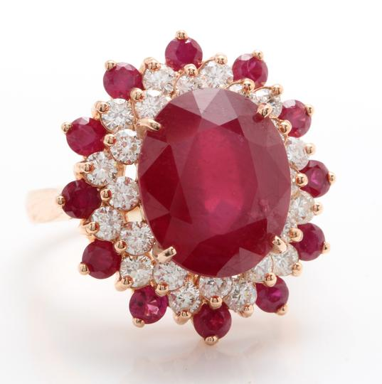 other 11.40CTW Natural Red Ruby & DIAMOND in 14K Solid Rose Gold Women Ring Image 1
