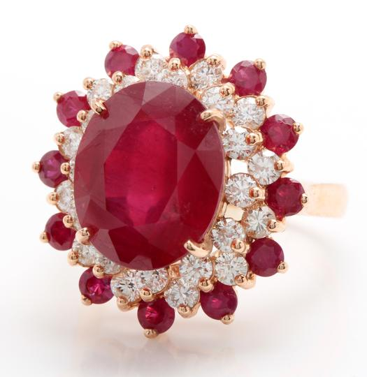 other 11.40CTW Natural Red Ruby & DIAMOND in 14K Solid Rose Gold Women Ring Image 2
