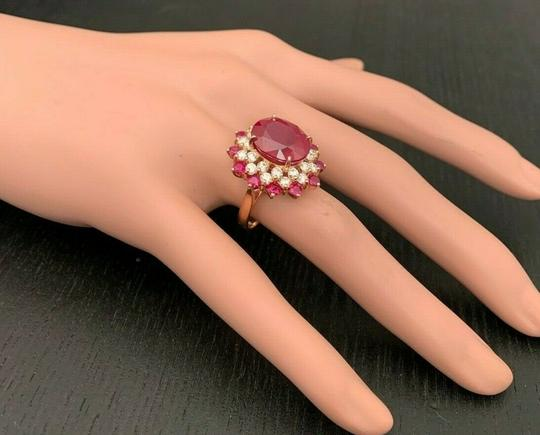 other 11.40CTW Natural Red Ruby & DIAMOND in 14K Solid Rose Gold Women Ring Image 3