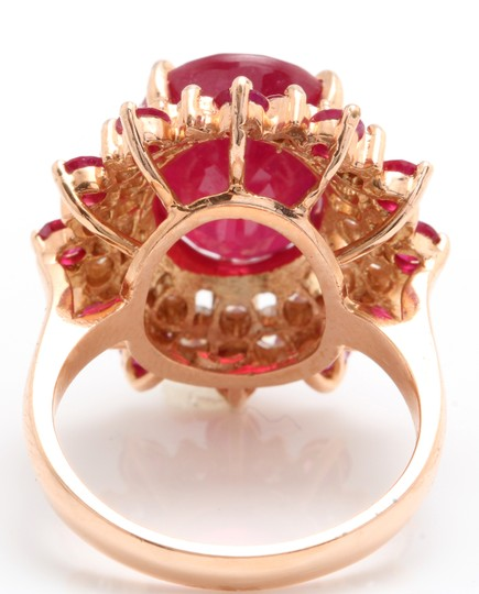 other 11.40CTW Natural Red Ruby & DIAMOND in 14K Solid Rose Gold Women Ring Image 5