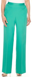 Alfred Dunner Monochrome Elastic Stretchy Straight Pants Green