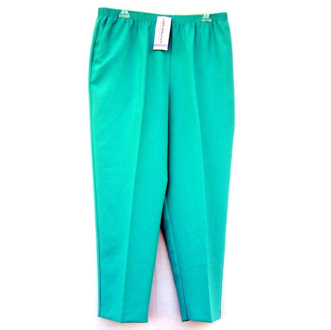 Alfred Dunner Monochrome Elastic Stretchy Straight Pants Green Image 1