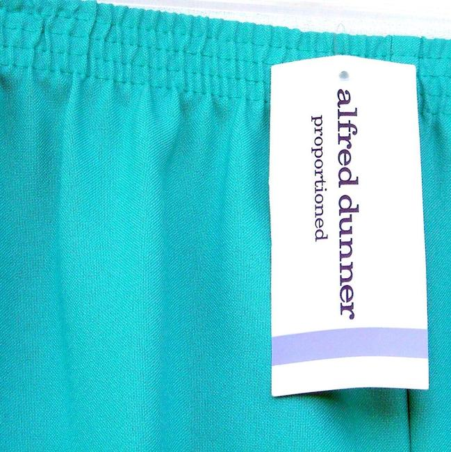 Alfred Dunner Monochrome Elastic Stretchy Straight Pants Green Image 2