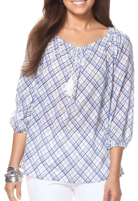 Preload https://img-static.tradesy.com/item/26206979/chaps-blue-white-crinkle-plaid-peasant-in-shades-blouse-size-8-m-0-1-650-650.jpg