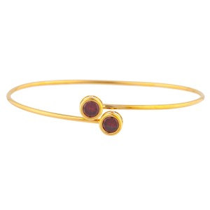 Other 14Kt Yellow Gold Garnet Round Bezel Bangle Bracelet