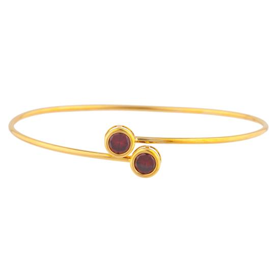 Other 14Kt Yellow Gold Garnet Round Bezel Bangle Bracelet Image 0