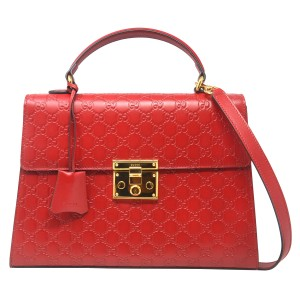 Gucci Monogram Gg Padlock Tote in Red