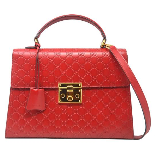 Gucci Monogram Gg Padlock Tote in Red Image 0